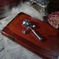 Silver Baby's Rattle with Whistle